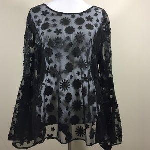 NWT New York & Company Black Sheer Flower blouse